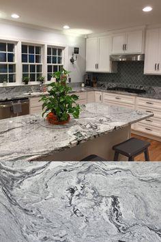 Viscon White granite countertops on white cabinets. White and black veins in granite Thunder White Granite, Moon White Granite, White Granite Kitchen, Granite Bathroom, White Granite Colors, Grey Granite Countertops, White Cabinets White Countertops, Brown Granite, Viscount White Granite