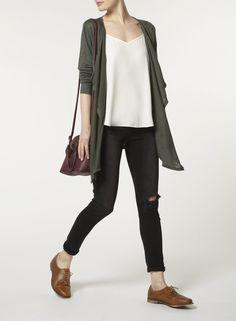 Khaki Fine Knit Waterfall Cardigan | Fashion | Pinterest | Khakis ...