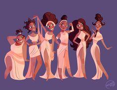 'Muses' by Mariana Avila Disney Animation, Disney Pixar, Walt Disney, Disney Memes, Disney Nerd, Disney Fan Art, Cute Disney, Disney And Dreamworks, Disney Cartoons
