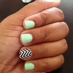 My Mint Sorbet & Jamberry Chevron nails..done by ME:-)