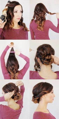 Low Bun for Medium / Long Hair -- this is nice that they curl the hair first to give it volume and shape! <3