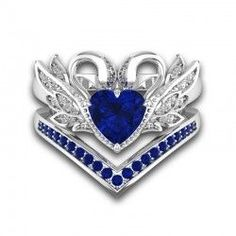 Blue Sapphire Swans Inspired Wedding Ring Sets For Her