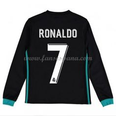 Camisetas Futbol Niños Real Madrid Cristiano Ronaldo 7 Segunda Equipación  Manga Larga 2017-18 5e910cc3edbba