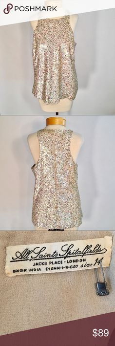 All Saints Spitalfeilds sequins Top Beautiful sequin tank in great condition . This top is a show stopper. All Saints Tops Tank Tops