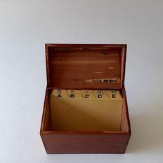 Wood index card box marked 3/3/36.