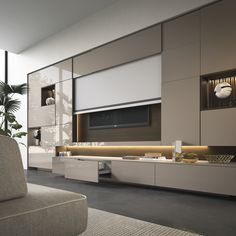 Triplo Boiserie is a wall-mounted cabinetry system designed to enhance any space with function and elegance. Modern and Condo Living Room, Living Room Interior, Living Room Decor, Modern Bedroom Decor, Tv Unit Furniture, Resource Furniture, Tv Wall Design, House Design, Tv Wall Cabinets