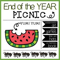 The end of the school year is here! Check out this day full of fun centered around a picnic theme. This packet includes the following: -Banner Template (Students can color the templates and then staple them together using a piece of yarn to string them across the classroom) -A little ant hat -A Memory Book (Includes 6 pages) -A Summer End Of School Year, End Of Year, School Fun, Picnic Theme, Watermelon Art, Theme Days, School Snacks, Memory Books, Banner Template