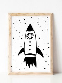 Rocket Wall Art Boy Nursery Decor Black and White Nursery