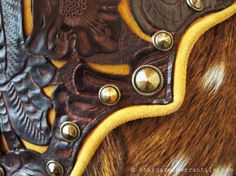 STARGAZER MERCANTILE #PILLOW: Axis deer fur, hand stained leather panels, solid brass conchos!  #Western #home