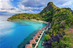 Aerial view of Apulit Island Resort in El Nido, Palawan.