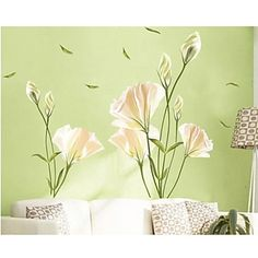 Removable Flower Home Living Room Mural Decor Art Vinyl Decal DIY Wall Stickers Wall Stickers Home Decor, Flower Bedroom, Wall Stickers Bedroom, Wall Decor Stickers, Wall Stickers Romantic, Vinyl Decal Diy, Flower Wall Decals, Sticker Wall Art, Living Room Murals
