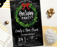 Holiday Party Invitation Christmas Party Invitation by AlniPrints     #christmas #ideas #crafts #diy #photos #gifts #traditions #party #cookies #Party #Invitation #Chalkboard #xmas #download