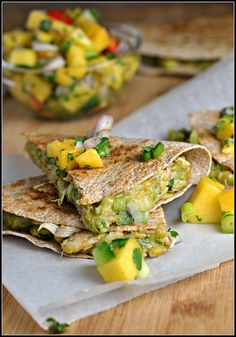 Crab & Avocado Quesadillas with Mango Salsa