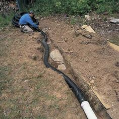 Need to extend your downspout? Connecting downspouts to buried drainpipes can help dry out a wet basement and soggy lawn. Gutter Drainage, Backyard Drainage, Landscape Drainage, Drainage Pipe, Wet Basement, Basement Waterproofing, Patio Gazebo, Backyard Patio