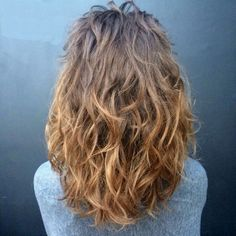 medium brown ombre wavy hairstyle
