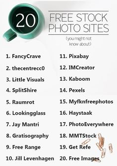 20 Stock Photo sites you might not know about - but should!!