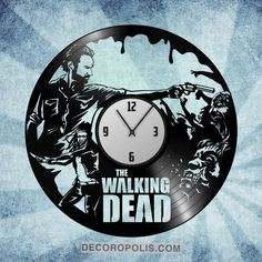 Walking Dead wall decal and clock vinyl record LP Vinyl Record Crafts, Vinyl Record Clock, Record Wall, Vinyl Records, Walking Dead Gifts, Walking Dead Season, The Walking Dead, Nightmare Before Christmas Clock, Harry Potter Clock