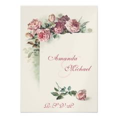 Watercolor Wedding Reception Pink Roses wedding RSVP Card