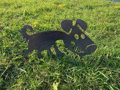 Rusty Sniffing Dog Metal Garden Art Metal Garden Art, Metal Birds, Cnc Plasma, Animal Silhouette, Potted Plants, Gates, Art Decor, Dogs, Pot Plants