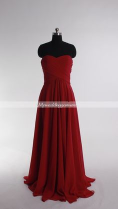Empire Red Prom Dress Long Bridesmaid Dresses Custom Homecoming Graduation Evening Party Dresses. $98.00, via Etsy.