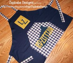 Led Zeppelin applique Apron. Blue with Yellow letter, yellow pocket with blue letters. Cotton fabric. One Size Fits All! ONE OF A KIND! Perfect for the kitchen or outdoor grill. Handmade with Led Zeppelin playing in the background because every moment filled with LZ are good moments ~ http://youtu.be/edPEBB6VjRQ  /led-zeppelin-handmade-apron