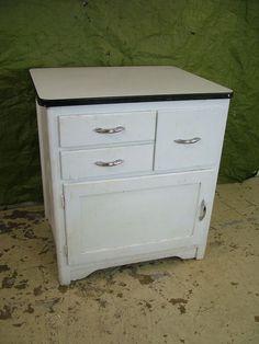 Vintage+1950s+Porcelain+Enamel+Top+WOOD+Kitchen+Shop+Cabinet+Work+Storage+