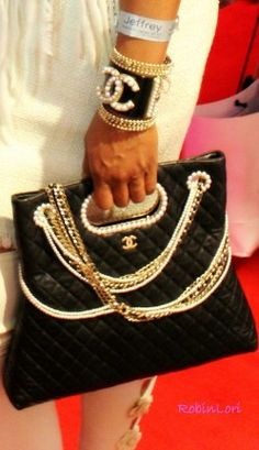 Marlo Hampton Black Chanel Bag at Jeffrey Cares Fashion Show