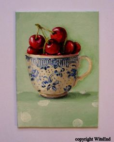 Cherry Tea Cup painting original ooak fruit art still by 4WitsEnd, $55.00