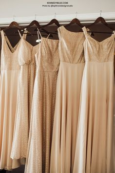 Gold bridesmaid dresses are currently in trend! Get the best quality gold sequined bridesmaid dresses from Kennedy Blue! // gold bridesmaid dress // gold sequined dress // unique bridesmaid dresses // gold wedding // gold bridal party // elegant bridesmaid dress