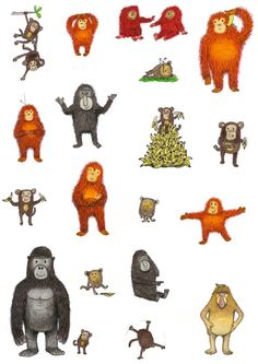 """Apes & Bananas"" by Karl Newson - A fun illustration featuring lots of monkeys and orangutans and a gorilla! Measures x / & will be signed from 'KarlNewson' on Etsy★❤★ Monkey Illustration, Character Illustration, Graphic Illustration, Illustration Styles, Amazon Animals, Zoo Art, Monkey Pictures, Monkey Art, Animal Doodles"