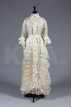 A fine ivory organza and Valenciennes lace gown, late 1870s