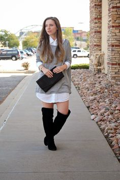 Blog Update: Oversized Sweater fall fashion, grey & white, over the knee boots www.NewlyLoved.com