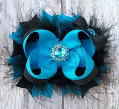 Turquoise and Black Bow Fluffy Stacked Boutique Bow with Turquoise Rhinestone Center on Etsy, $7.99