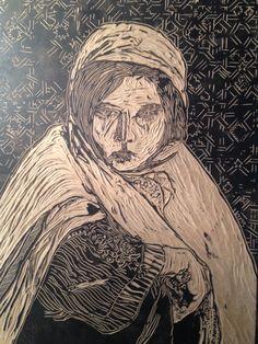 Tres moricas, Mariem. Xilografía. Jesus de Juan, 2014.