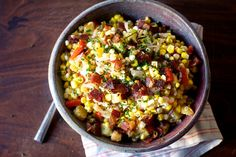 Corn Chowder Salad by smittenkitchen #Salad #Corn #Bacon #Potatoes #Peppers #Onion