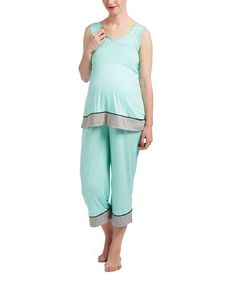 Mint Color Block Maternity/Nursing Pajama Set