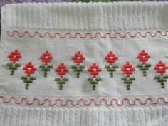 Recycled Vintage Pillowcase to Upcycled Tea Towel - Pretty on Pink - Homespun Home Decor Types Of Embroidery, Learn Embroidery, Embroidery Needles, Embroidery Patterns, Hand Embroidery, Cross Stitch Boards, Cross Stitch Bookmarks, Hardanger Embroidery, Cross Stitch Embroidery