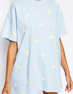Image 3 of Lazy Oaf Boyfriend T-Shirt In Mini Fried Eggs Print