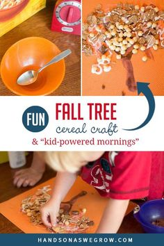 Make this fun and simple fall tree cereal craft with your kids and take on the challenge of creating a Kid-Powered morning routine at home! Outdoor Activities For Toddlers, Fall Crafts For Toddlers, Easy Fall Crafts, Thanksgiving Crafts For Kids, Halloween Crafts For Kids, Crafts For Kids To Make, Autumn Leaves Craft, Autumn Trees, Toddler Preschool