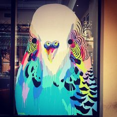 Anya Brock budgerigar window at Tartine Cafe (Perth).