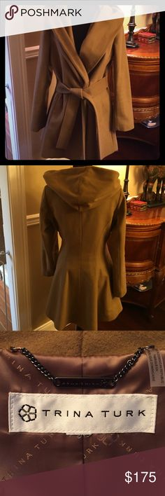 Trina Turk Wool Coat Trina Turk Wool Coat Size 12. Never worn-Perfect condition! Fits true to Size. Beautiful camel color. 70% Wool 10% cashmere. Button closure with belt. Sacrifice but it's just too big. Trina Turk Jackets & Coats