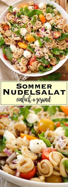 Sommer Nudelsalat einfach und gesundSimply delicious - whether vegan or vegetarian, lukewarm or cold, at home or on a picnic! If you want to be vegetarian, you can make summer pasta without Parma ham. And for the vegan version you have to leav Healthy Salads, Easy Healthy Recipes, Fat Burner Smoothie, Pasta Recipes, Salad Recipes, Smoothie Recipes, Recipes Dinner, Meat Recipes, Drink Recipes