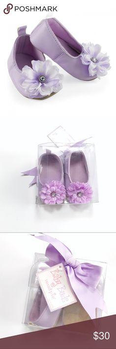 Mud Pie Purple Flower Baby Buds Leather Shoes Brand new in box! Great gift. Size 6-12 months Mud Pie Shoes