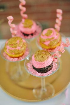 New Year's Eve cupcakes in martini cocktail glasses! New Year's Eve party ideas.
