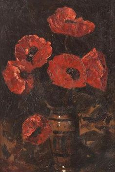 Poppies by Octav Bancila. Art Database, Art History, Poppies, Floral, Flowers, Painting, Romania, Artworks, Frames