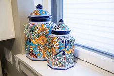 Kitchen Canisters Handmade Furniture, Rustic Furniture, Furniture Design, Hacienda Kitchen, Mexican Furniture, Talavera Pottery, Ceramic Jars, Kitchen Canisters, Hand Painted Ceramics