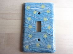 Glow in the dark stars Switchplate Polymer by ColorfulClay on Etsy