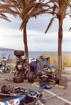 what we miss … an open paddock ,mechanics working on Patrick Depailler's Alpine-Renault A364, 1972 Monaco F3 raceDepailler se...