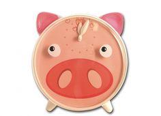 OROLOGIO TAVOLO MAIALE OCCHI MOVIMENTO. Orologio da tavolo in plastica con faccia da maialino con quadro di colore rosa e occhi che si muovono allo scatto di ogni minuto, funziona con pile non incluse