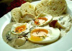 Bílá omáčka z hříbků, vejce na měkko
